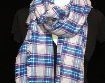 Purple Plaid Blanket Scarf, Winter Scarf, Gift for her, Blanket Scarf, Flannel Scarf, Warm Scarf, Scarf, Plaid Scarf, Purple plaid Scarf
