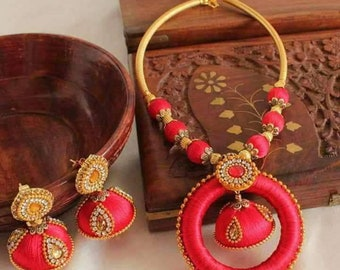 Red and golden silk thread jewelry set for beautiful women and girls