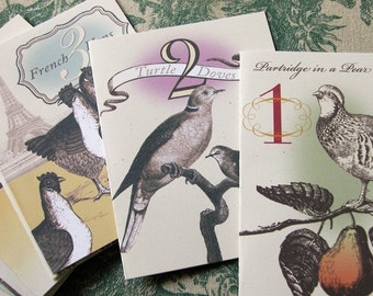 12 Days of Christmas original digital art victorian vintage style set of 12 cards and envelopes