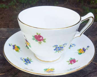 Crown Staffordshire Fine Bone China Made in England teacup and saucer set antique high tea