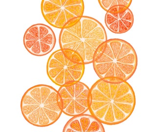 Orange art print, orange fruit modern art watercolor painting, modern kitchen orange wall art decor, abstract fruit art, geometric fruit art