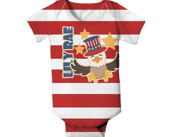 Patriotic Baby Bodysuit, Personalized Stars and Stripes One-Piece Outfit