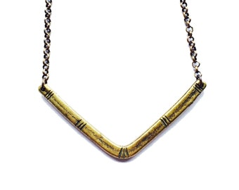 Carved V Necklace - Brass