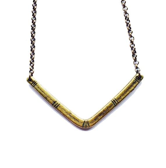 Carved V Necklace - Brass