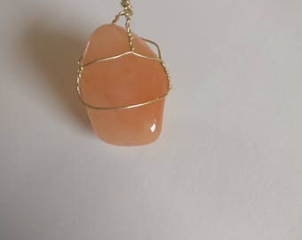 Wire-Wrapped Tangerine Quartz Necklace