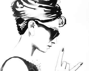 B&W Audrey Rocks Art Print Fashion Illustration Vintage Black and White 1960s Style Icon Hair Salon Decor