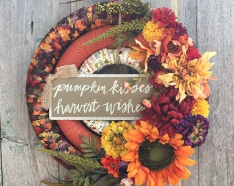 Fall Floral Wreath, Fall Front Door Wreath, Fall Fabric Wrapped Wreath, Autumn Floral Wreath, Thanksgiving Wreath, Front Door Floral Wreath