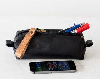 Black leather pencils case, rectangular accessory bag purse case glasses markers zipper pouch - The Rec pencil case