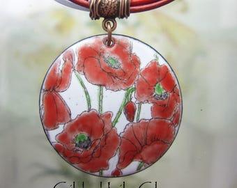 Valentine Poppy Enamel Pendant, Copper Enamel Jewelry Handmade in North Carolina