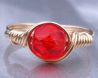Tangerine Czech Glass 14k Yellow Gold Filled Wire Wrapped Ring