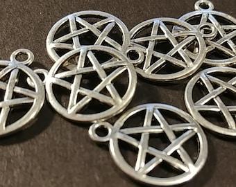 Antiqued Silver Pentagram Charms