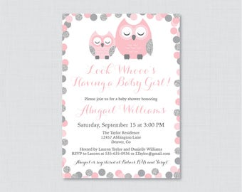 Owl Baby Shower Invitation Printable or Printed - Pink and Gray Owl Themed Baby Shower Invites, Pink Glitter Owl Baby Shower Invite 0069-P
