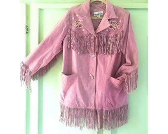 Vintage 90's Pink Suede Fringe Jacket with Rose embellishments