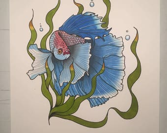 Fighting Fish painting A4