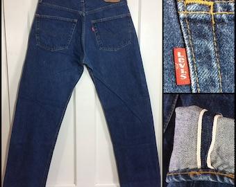 1980's 501 Levi's Jeans 35x34, measures 34x30 original hem, redline selvedge button fly Boyfriend jean dark wash denim #325