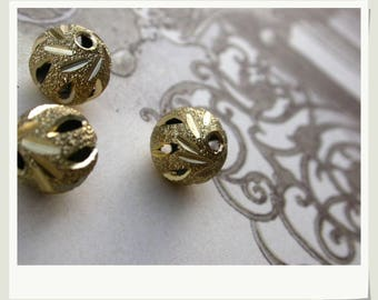 set of 6 gold-plated brass 7mm rhinestones beads