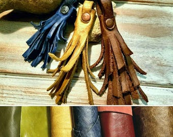"Wholesale Genuine Leather Tassels Rustic Distressed Leather Tassels Distressed Tassel Shabbychic Boho, (Bundle of 10) 2"" or  4"" or 6"""