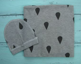 Ready to ship. Baby swaddle set. Baby swaddle blanket and beanie. Baby cotton blanket. Cotton swaddle. Rain drops swaddle.