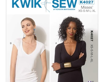 Sz XS/S/M/L/XL - Kwik Sew Top Pattern K4027 by Kerstin Martensson - Misses' V-Neck, Pullover Tops in Two Variations - Fitted T-Shirt Pattern