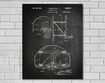 Basketball Poster - Basketball Blueprint - Basketball Patent Print - Basketball Decor - Basketball Wall Art - Historic Basketball SB634