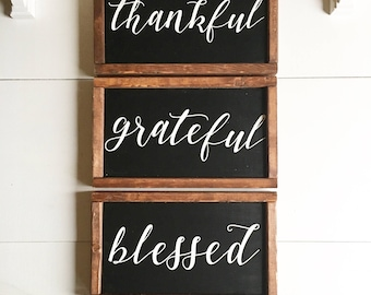 grateful, thankful, blessed signs| farmhouse decor | farmhouse wall decor | wood sign | rustic wall decor
