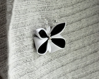 Butterfly brooch pin Kanzashi Mothers day gift For her Coworker gift For girlfriend Black white lapel pin Teacher gift idea Nature inspired
