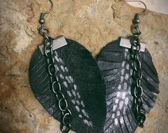 Black Leather Fringe Earrings with Chain