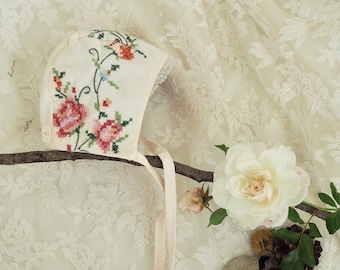 New!~Wild Rose Embroidered Linen Baby Bonnet ~ Vintage Embroidered Linen Baby Bonnet ~ Special Occasion Embroidered Bonnet ~ Ready to Ship
