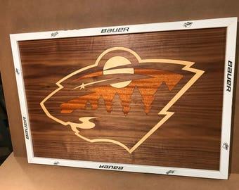 Minnesota Wild Inlaid Hockey Sign