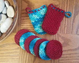 Soap Saver and Face Scrubbies Set (Burgundy and Caribbean)