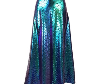 Mermaid Scales Holographic High Waisted Maxi Skirt - Clubwear, Rave Wear, Mini Circle Skirt