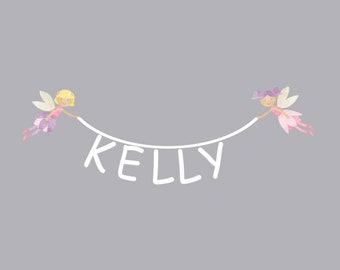 Fairy and Name Wall Decal - Name Fabric Wall Decals