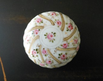 Pink and perfect handpainted Nippon dresser box, c. 1900