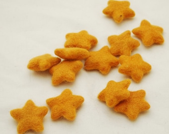 100% Wool Felt Stars - 10 Count - Orange