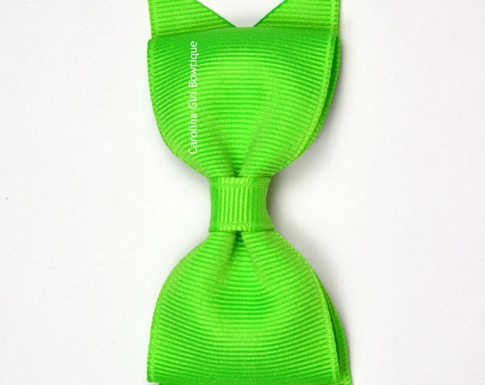 "Neon Green Tuxedo Bow ~ 3.5"" Hairbow ~ Small Hair Bow ~ Girls Barrette ~ Toddler Bow ~ Baby Hair Bow ~ Hair Clip ~ Girls Hair Bow"