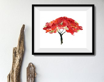 Poinciana tree print, Like Fire  art print, watercolor print, modern art, tree art print, Poinciana bloom Tangerine, Red, Black, artwork