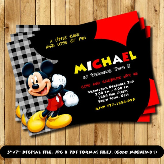 mickey mouse invitation mickey mouse birthday mickey mouse