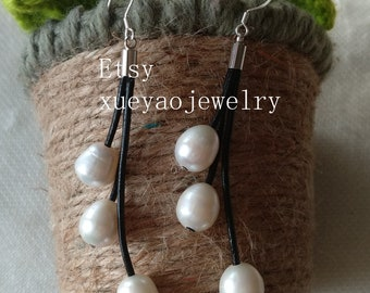 pearl leather earrings, pearl dangle earrings, white/black/gray/pink freshwater pearl earrings