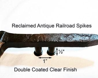 "1"" Left Sealed Railroad Spike Cupboard Handle Dresser Drawer Pull Cabinet Knob Antique Vintage Old Rustic Re-purposed House Restoration"