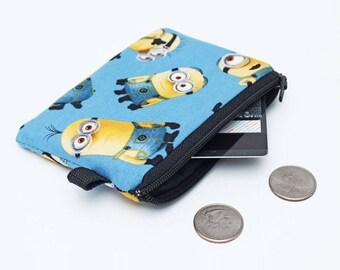Kids Coin Purse, Small Zipper Coin Bag, Mini Padded Pouch, Zip Wallet for Kids, Cartoon Little Zip Pouch, Card Wallet - Minions in blue