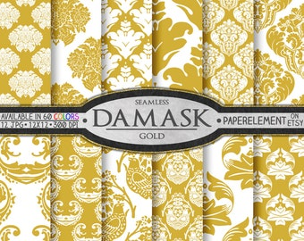 Gold Damask Digital Paper Set  - Printable Backdrops for Scrapbook Design - Instant Download