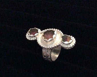 Sterling silver and pink watermelon tourmaline slices Statement ring
