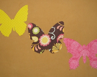 Handmade Butterfly Appliques - Set of 3 - assorted size and shape