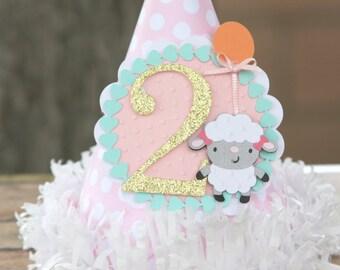 farm party hat, lamb party hat, smash cake party hat, girl party hat, first birthday hat, farm party decor, girl farm party ,
