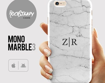 White  Marble iPhone X case, customized initials 8, 7 Plus, 6s cover, personalised SE case, samsung Galaxy S6, S7, S8 plus marble cover