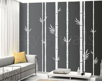 Bamboo Wall Decal, Bamboo Tree Wall Decal, 100inch Tall Set of 8 Bamboo Stalks, Home decor, Vinyl Wall Art Decor, Bamboo Living Room Decal
