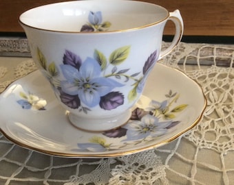 Vintage Tea Cup and Saucer English Ridgway Queen Anne-Bone China Lavender Flowers-Collectibles-Replacement China-Fine Bone China-Estate Tea