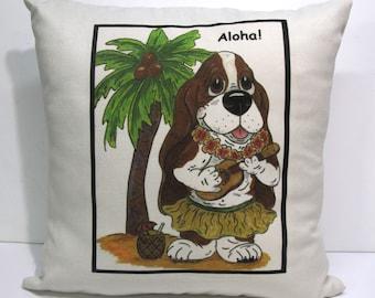 """Basset Hound Accent Pillow - 16"""" x 16"""" - """"Aloha"""""""