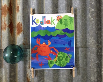Kodiak, Down by the Sea, Crab, Halibut, 8 x 10 Art Print