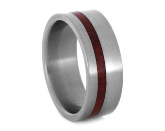 Bloodwood Wedding Ring for Him, Mens Titanium Wedding Band, Signature Style